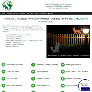 Financial Calculators from Dinkytown.net - Updated for the -a href=--secure_act_1019_calculators.html--SECURE Act and CARES Act!