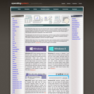 Documentation of Operating Systems and Producers - Independent Website