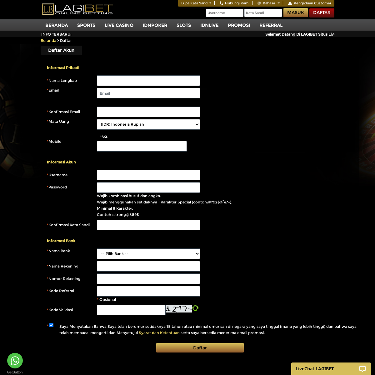 Daftar Casino Online Daftar Judi Online Daftar Live Casino Indonesia Lagibet