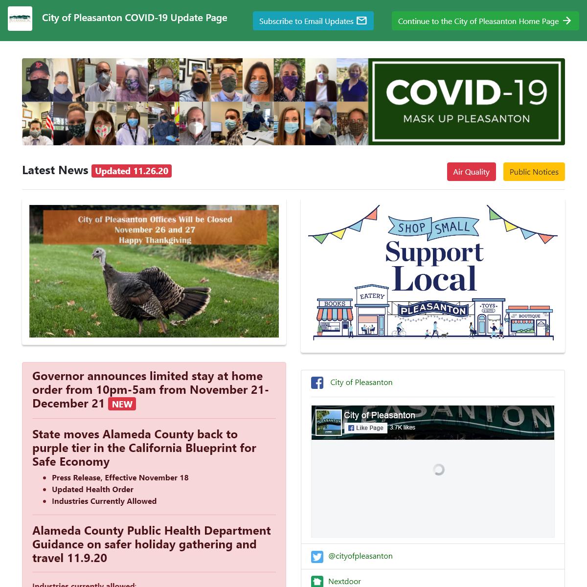 City of Pleasanton COVID-19 Updates