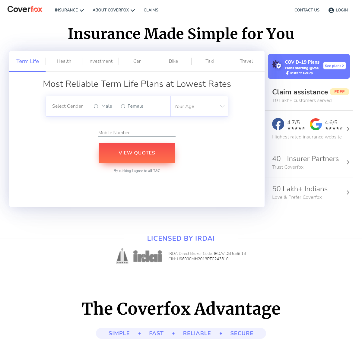 Compare Insurance Policy & Buy Insurance Plans & Policies Online - Coverfox.com