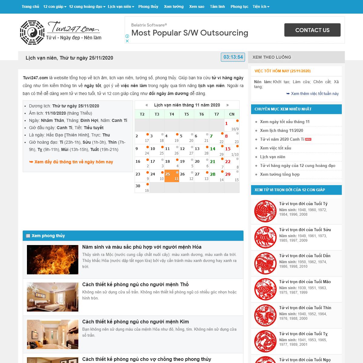 Tuvi247.com - Tử vi hàng ngày - Tử vi 12 con giáp - Lịch vạn sự