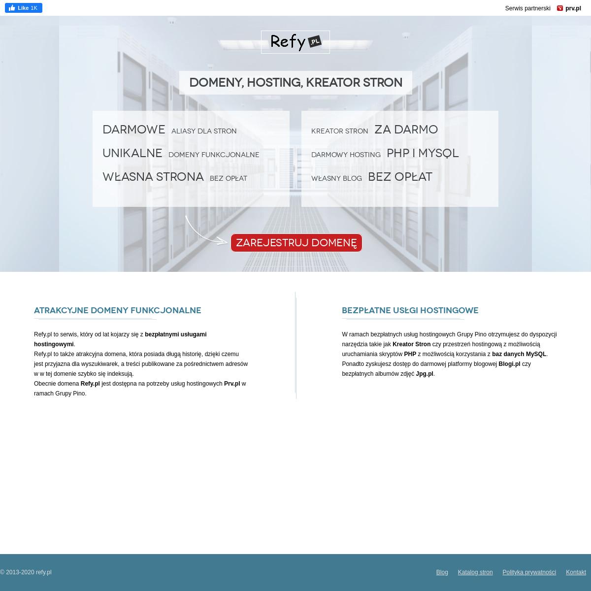 Refy.pl – darmowe domeny, najtańsze domeny funkcjonalne, hosting, domeny