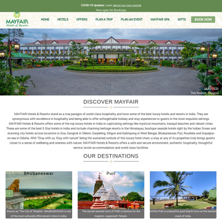 MAYFAIR Hotels & Resorts - 5 Star Luxury Hotels in India