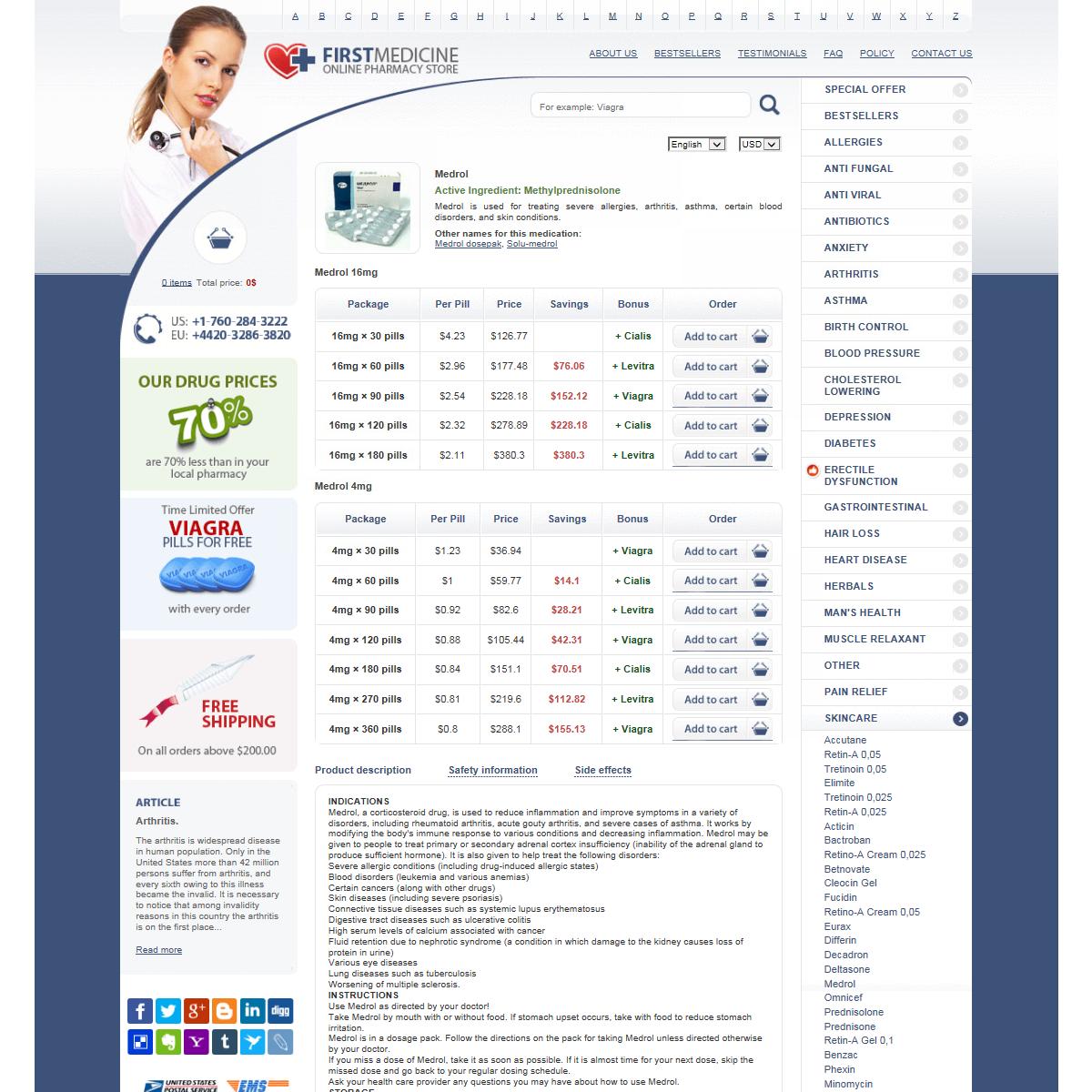Buy Medrol Online - 8 - 16 Mg Tablets