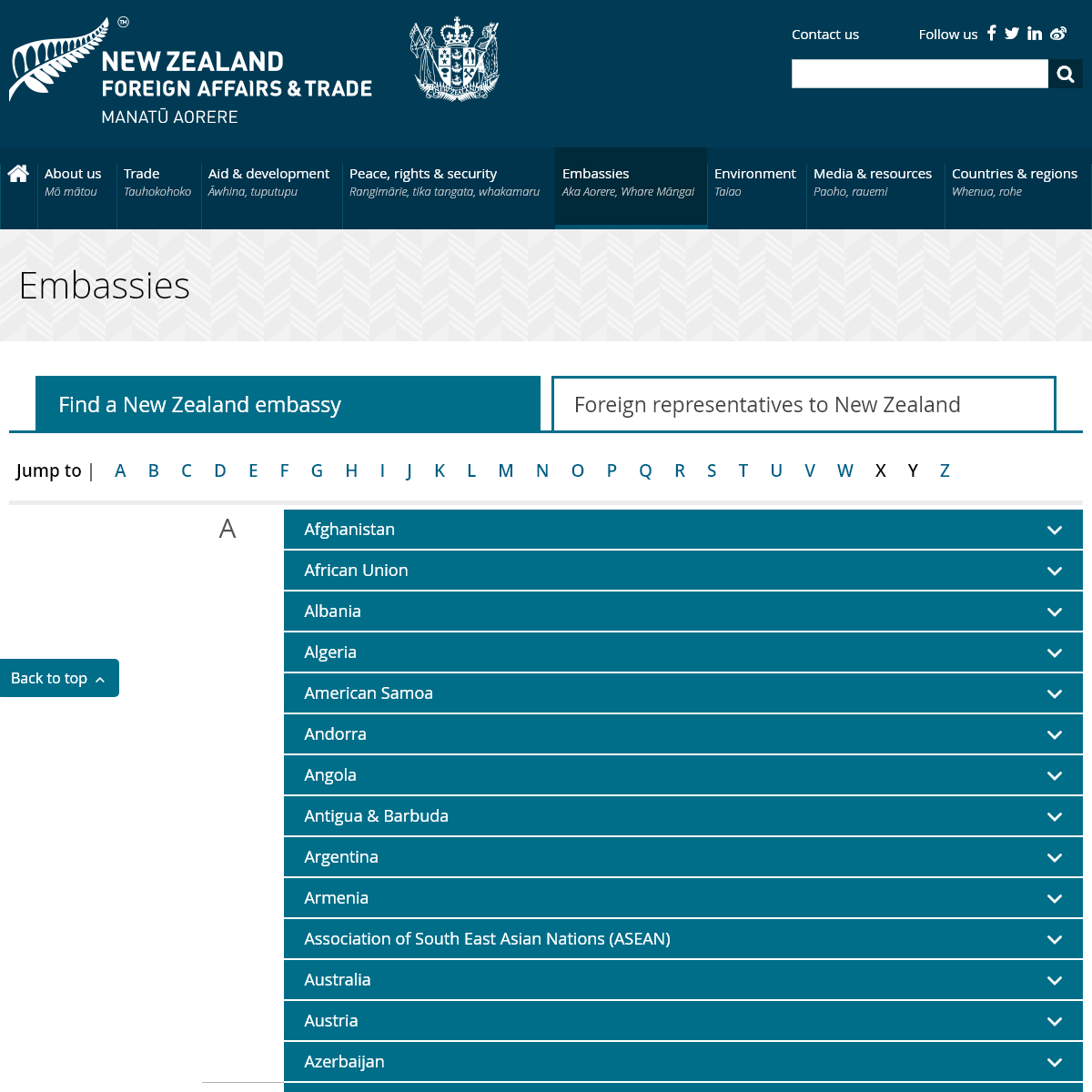 Embassies - New Zealand Ministry of Foreign Affairs and Trade
