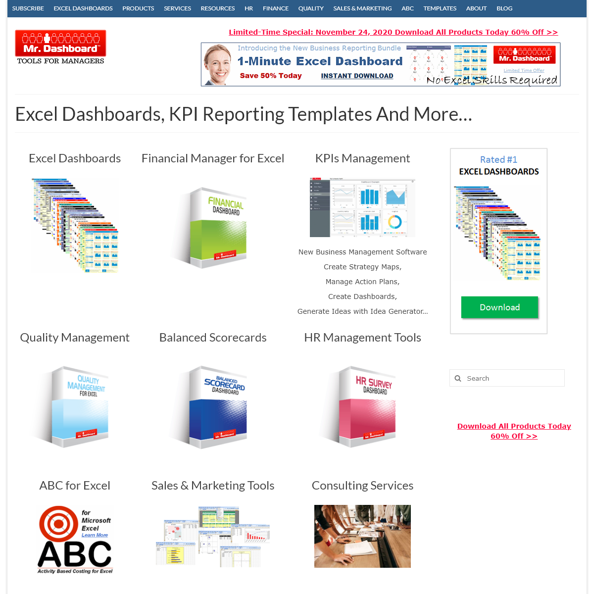 Mr Dashboard – Excel Dashboard Business Management Templates