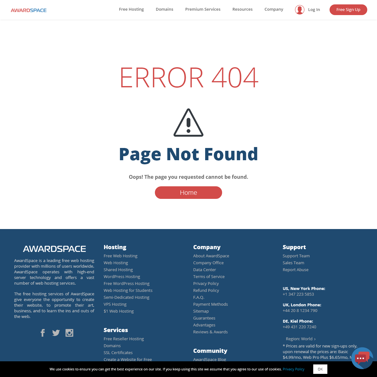 Page not found - Free Web Hosting with PHP, MySQL, Email Sending, No Ads - AwardSpace.com
