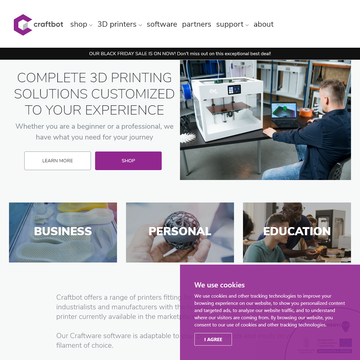 Craftbot - Complete 3D printing solutions customized to your experience.