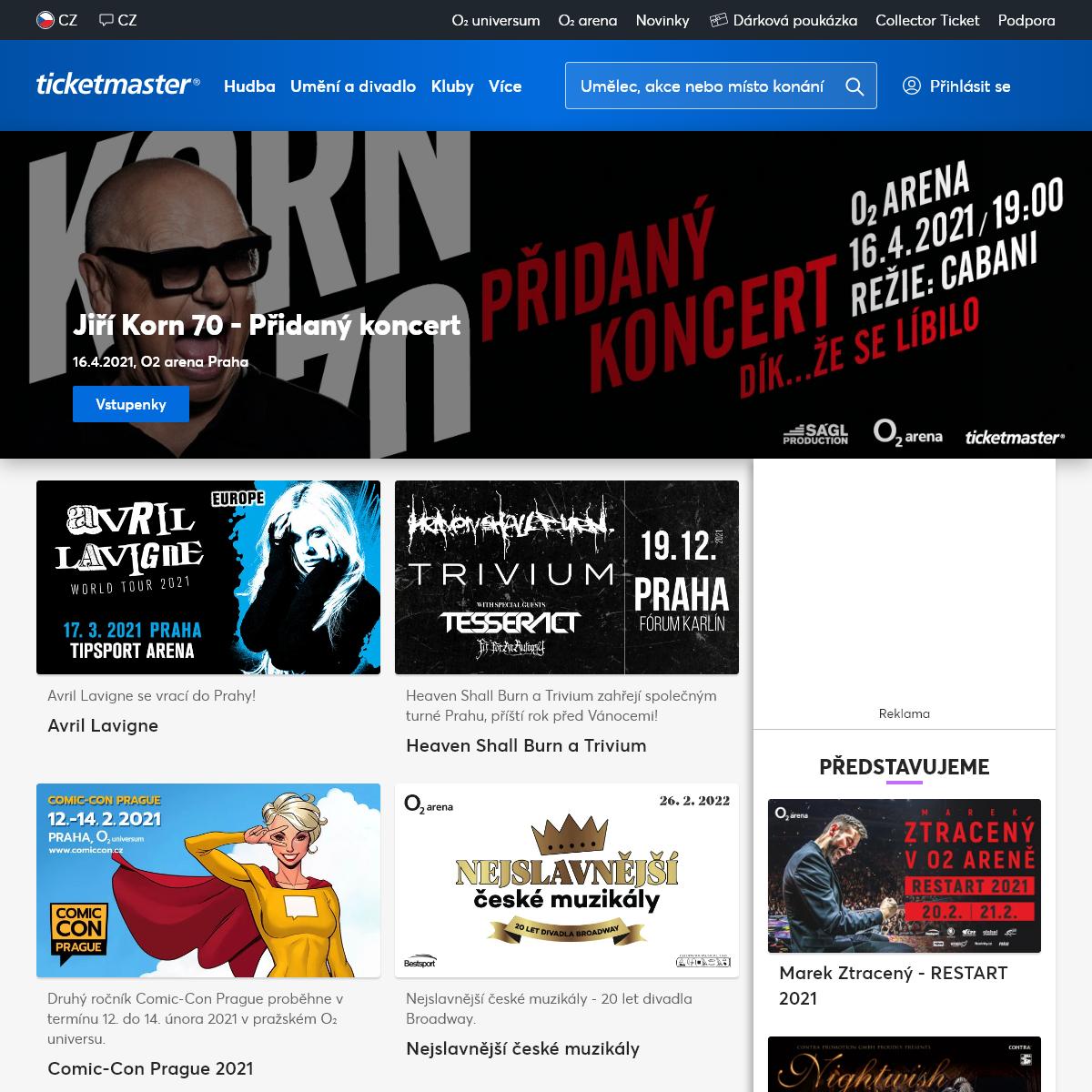 Vstupenky na koncerty, divadla, festivaly a kulturu - Ticketmaster (dříve Ticketpro)