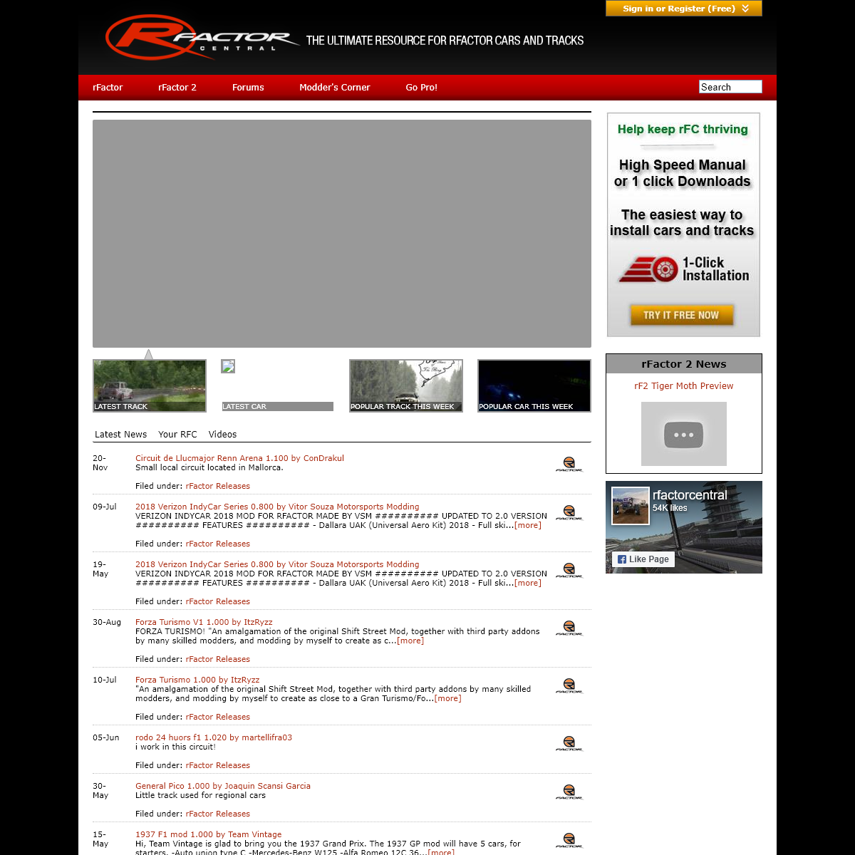 rFactor Central - Community Driven Sim Racing Resource for rFactor - rFactor Car mods, rFactor Tracks, Car Setups, rFactor Scree