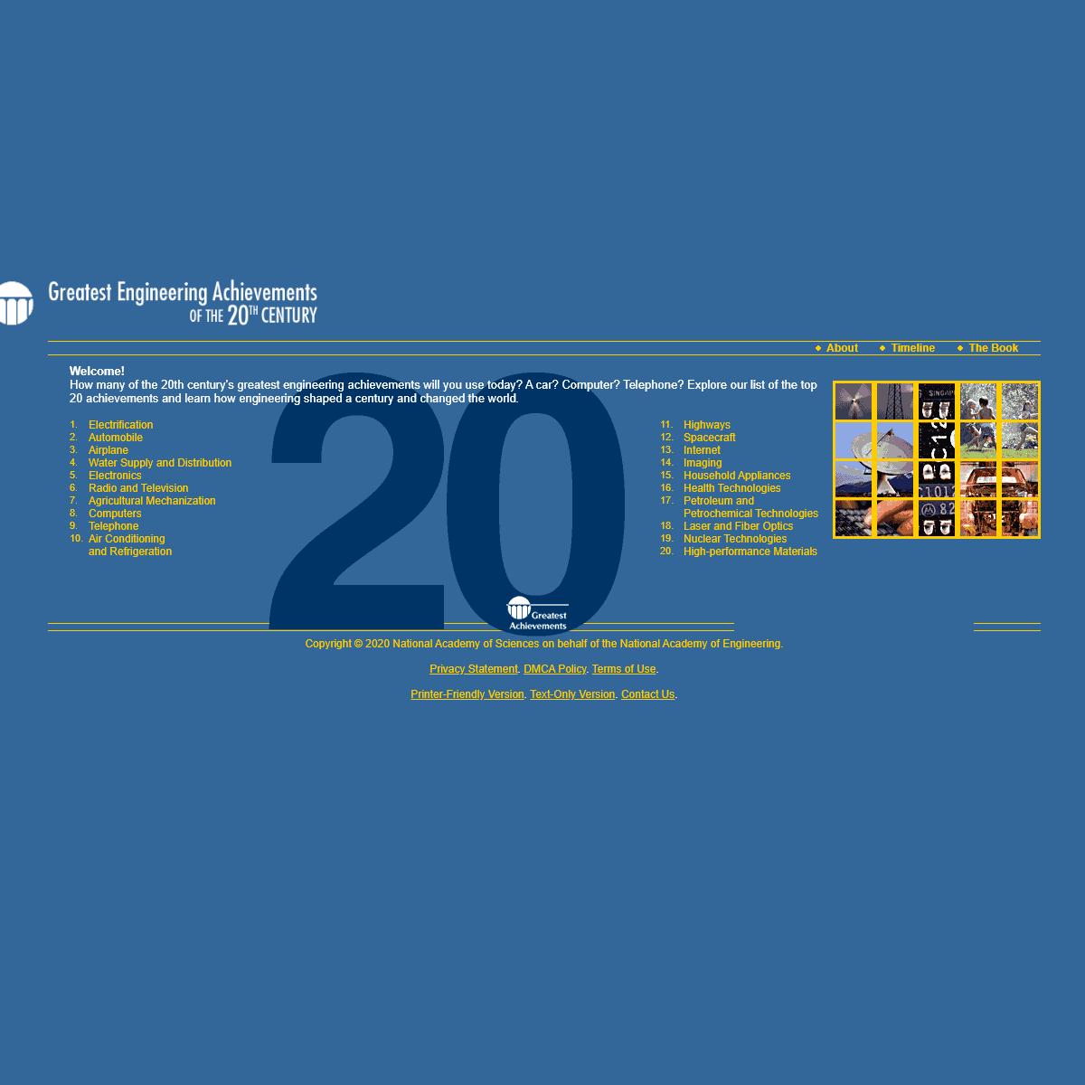 Greatest Engineering Achievements of the Twentieth Century