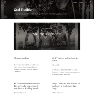 Oral Tradition Journal at Harvard University