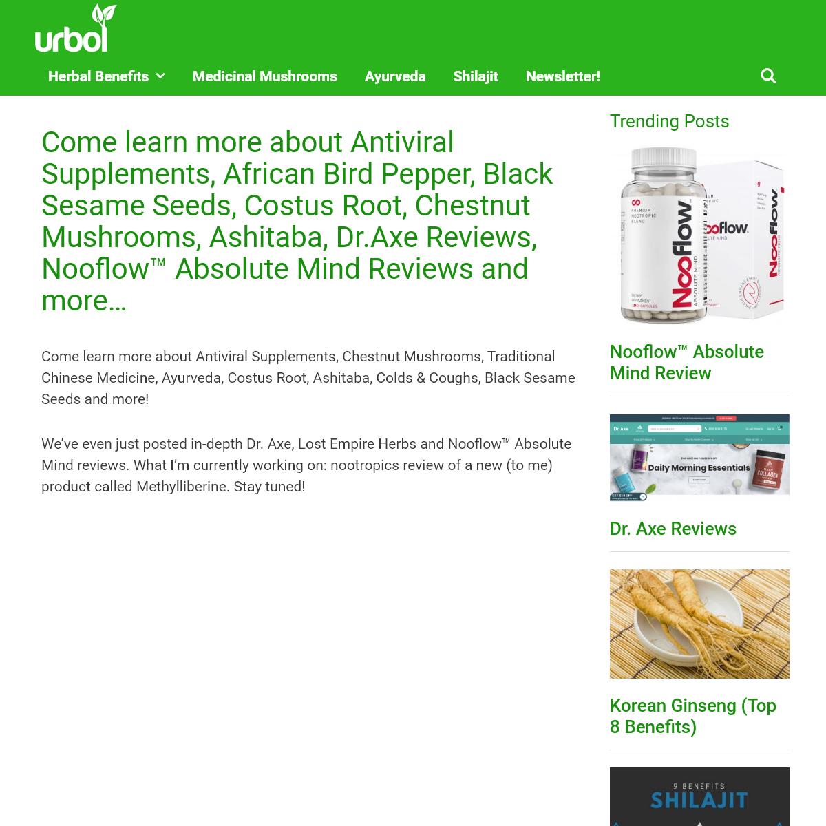 Latest Alternative Herbal Health News at urbol.com