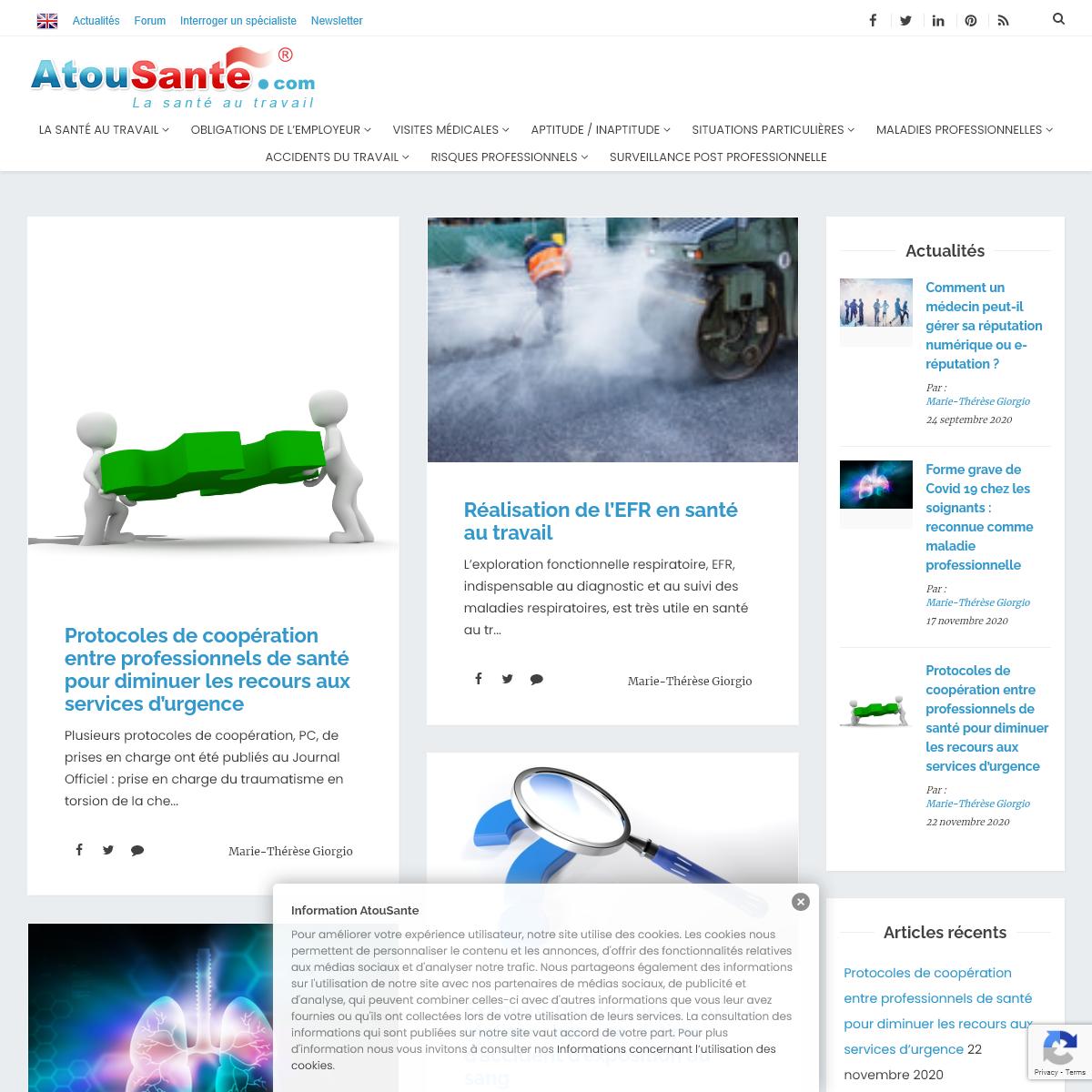 Santé au travail, médecine du travail - bienvenue sur AtouSante.com - AtouSante