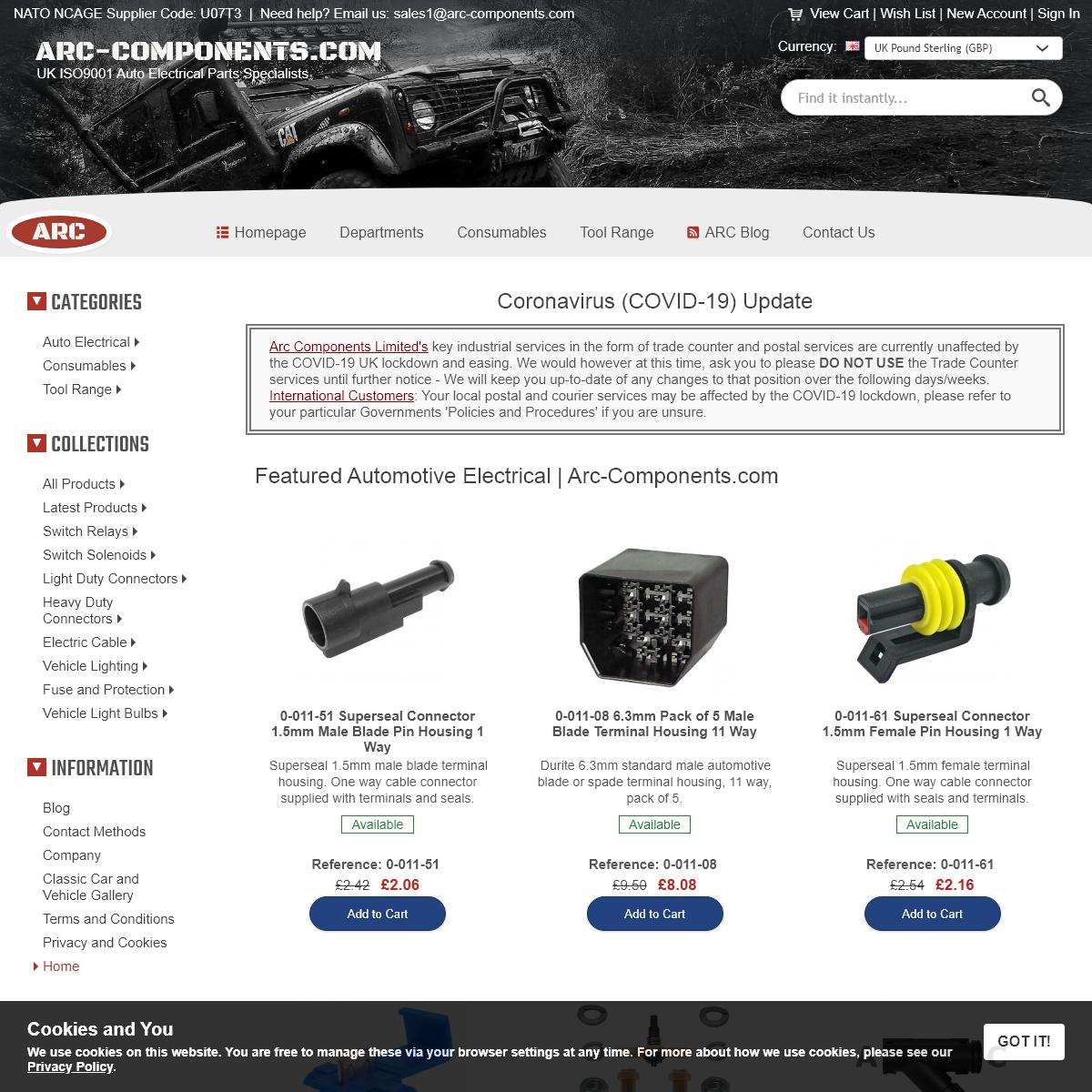 Arc Components Ltd - Auto Electric Home - Durite Parts Online
