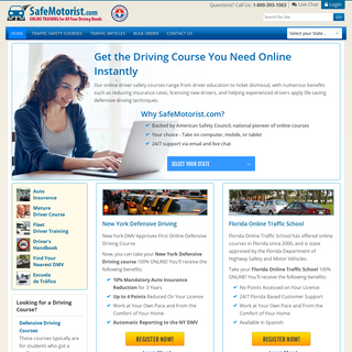 Online Traffic School, Defensive Driving and Driver Improvement Courses