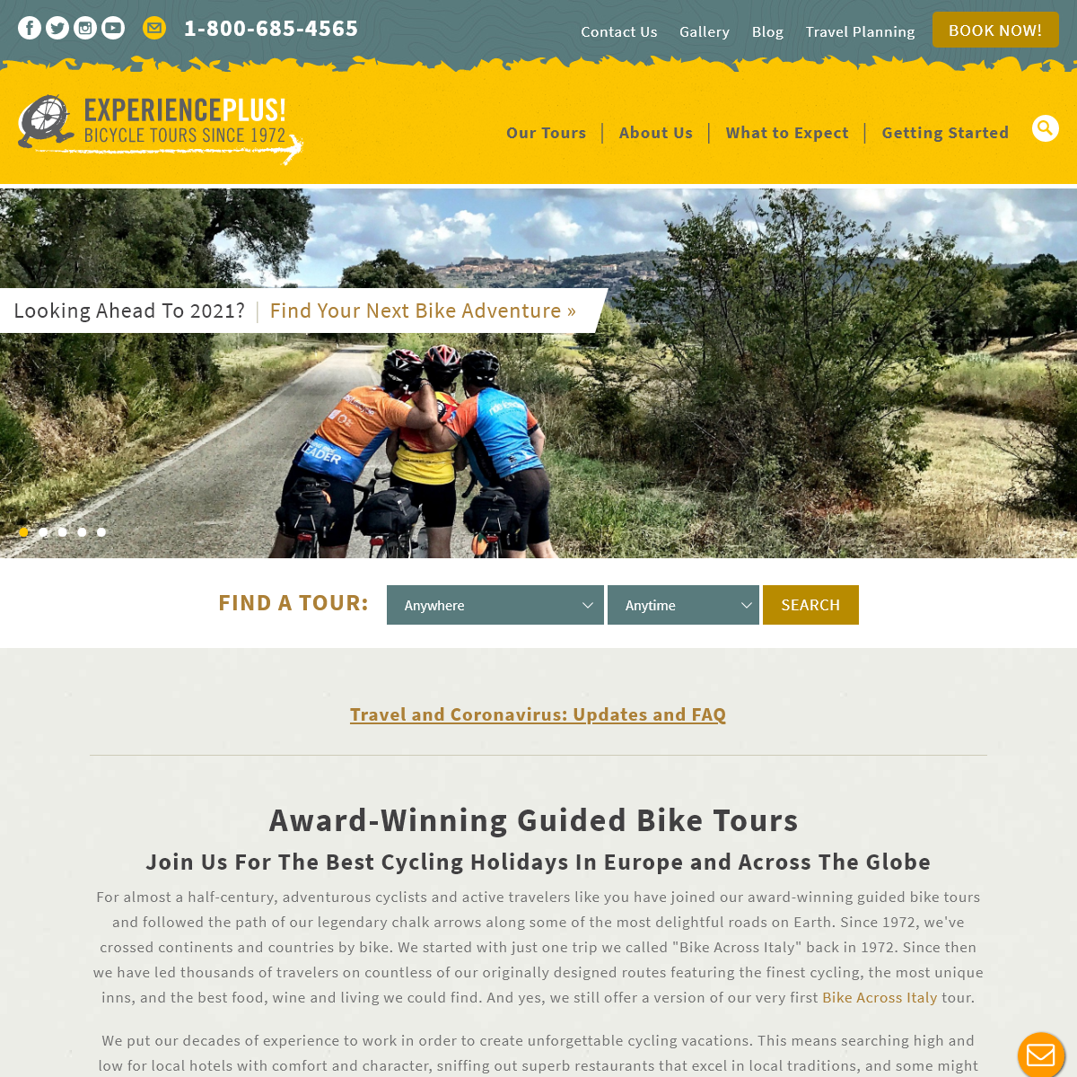 Bicycle tours since 1972, specializing in bicycle tours in Europe and South America