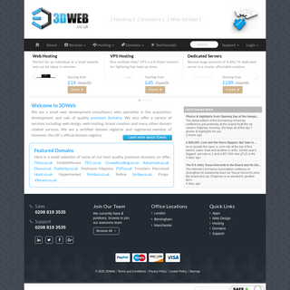3DWeb - UK Web Hosting, Domain Names & Web Design