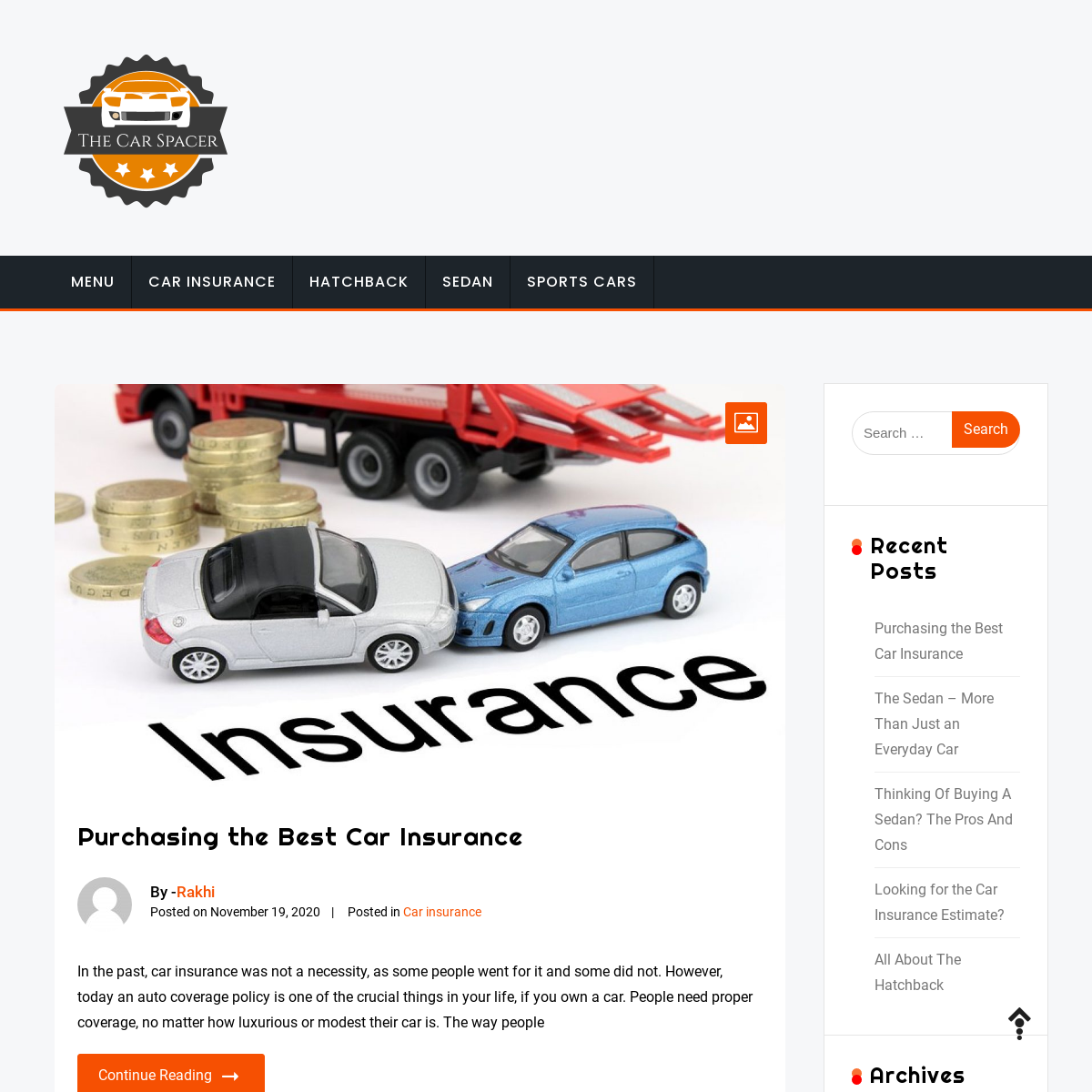 The Car Spacer - Car insurance policies