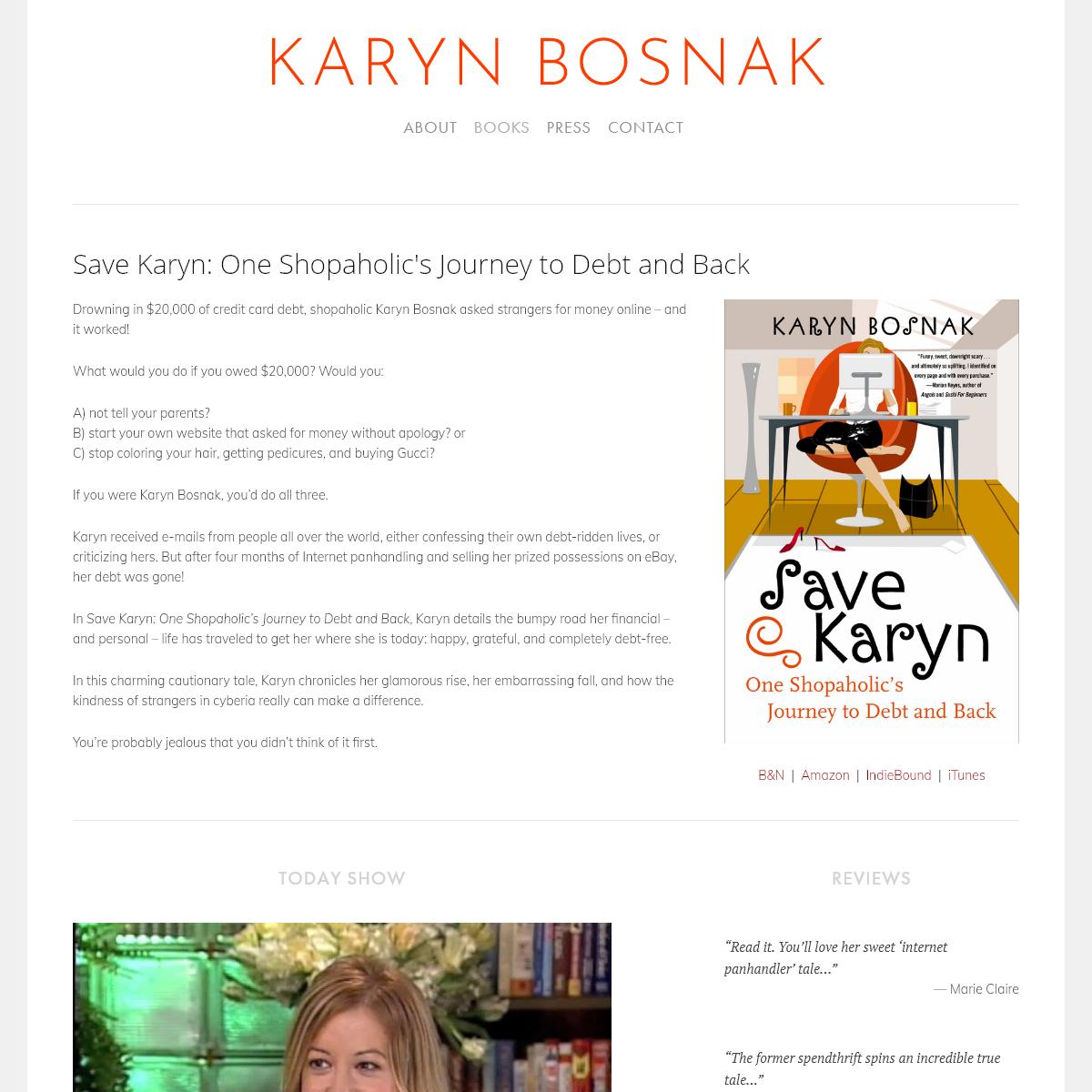 Save Karyn- One Shopaholic`s Journey to Debt and Back — Karyn Bosnak