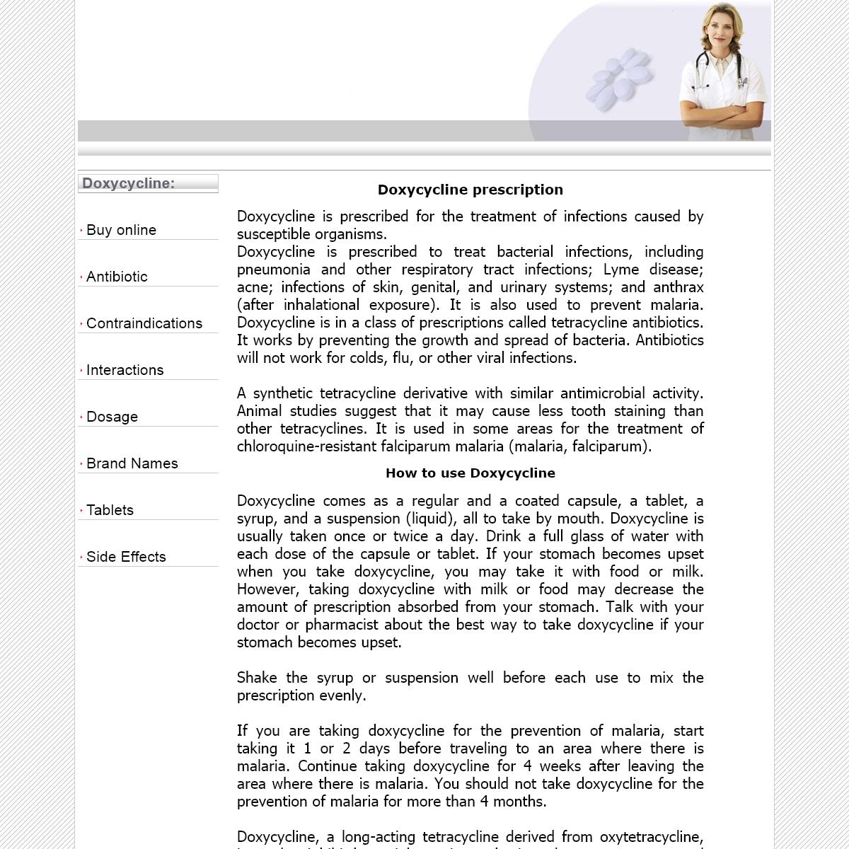Doxycycline online information