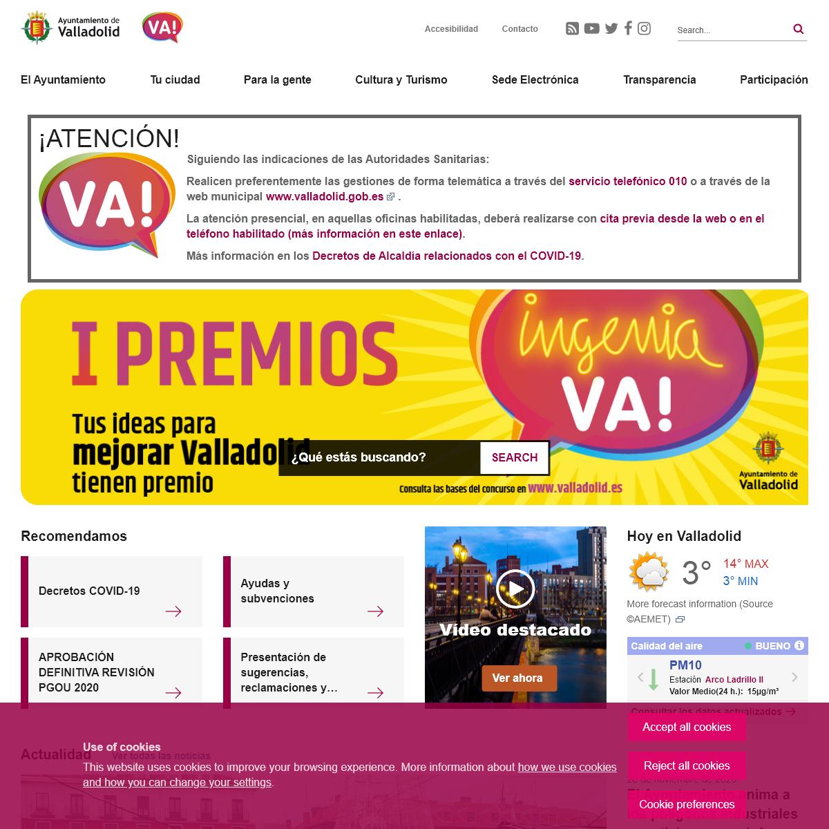 Portal Web del Ayuntamiento de Valladolid - Main page
