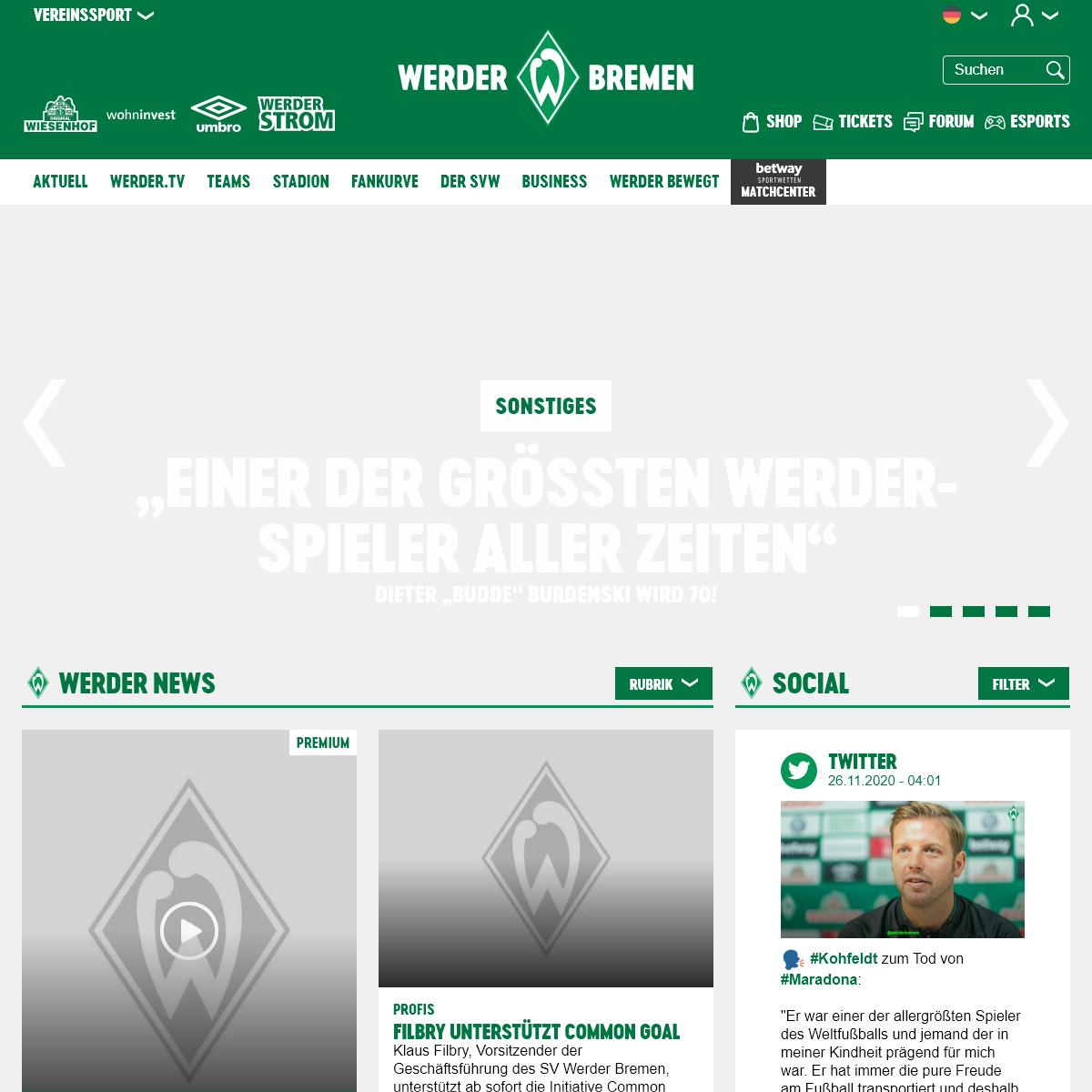 Startseite - SV Werder Bremen