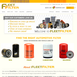 Automotive Filters - Buy Discount Auto Filters - FleetFilter