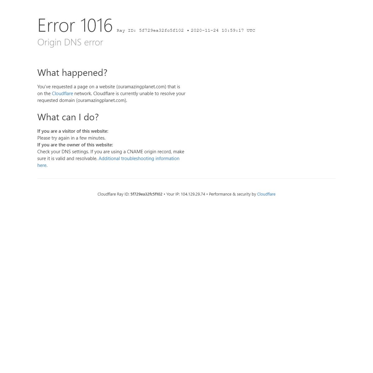 Origin DNS error - ouramazingplanet.com - Cloudflare
