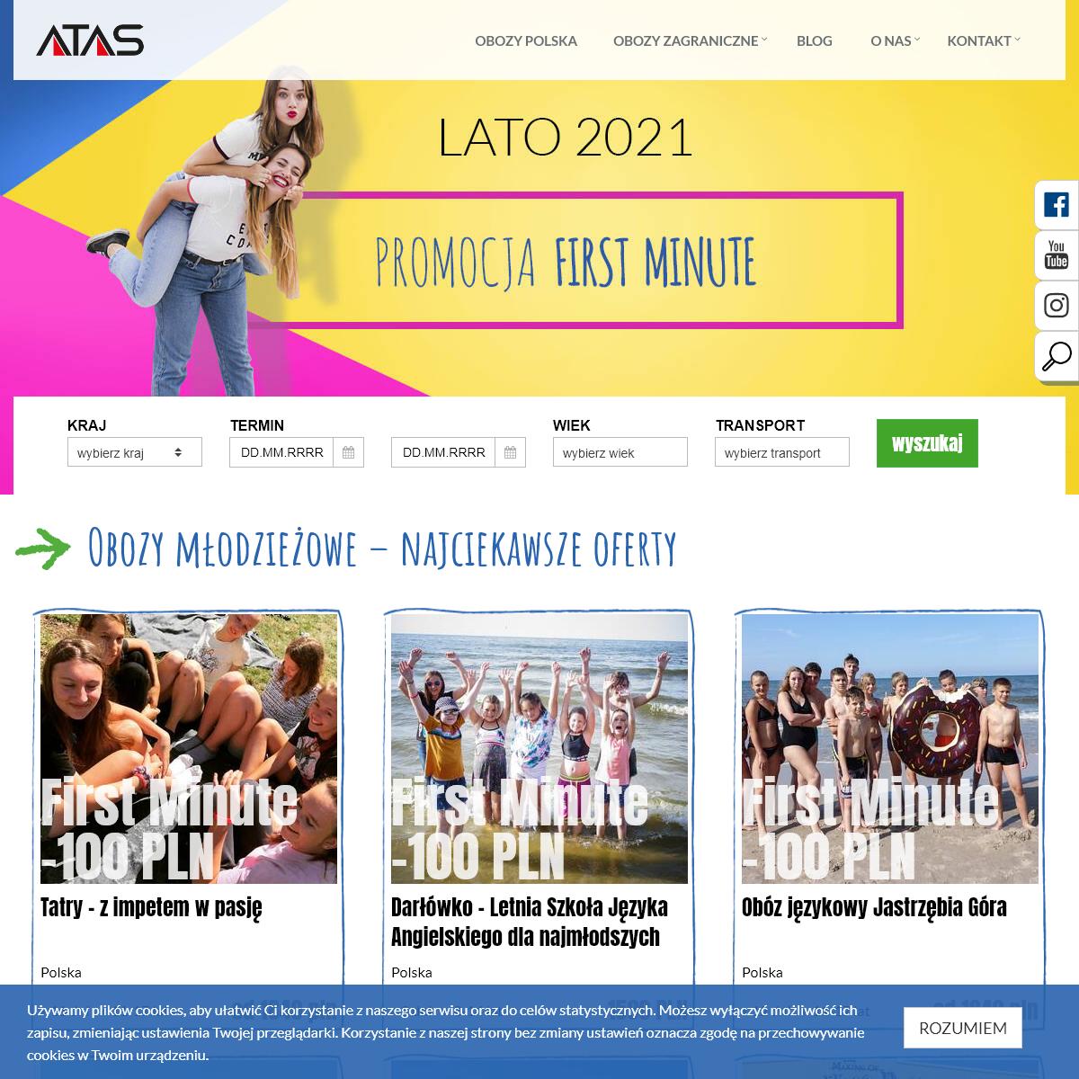 Kolonie 2021 – obozy młodzieżowe letnie i zimowe - ATAS