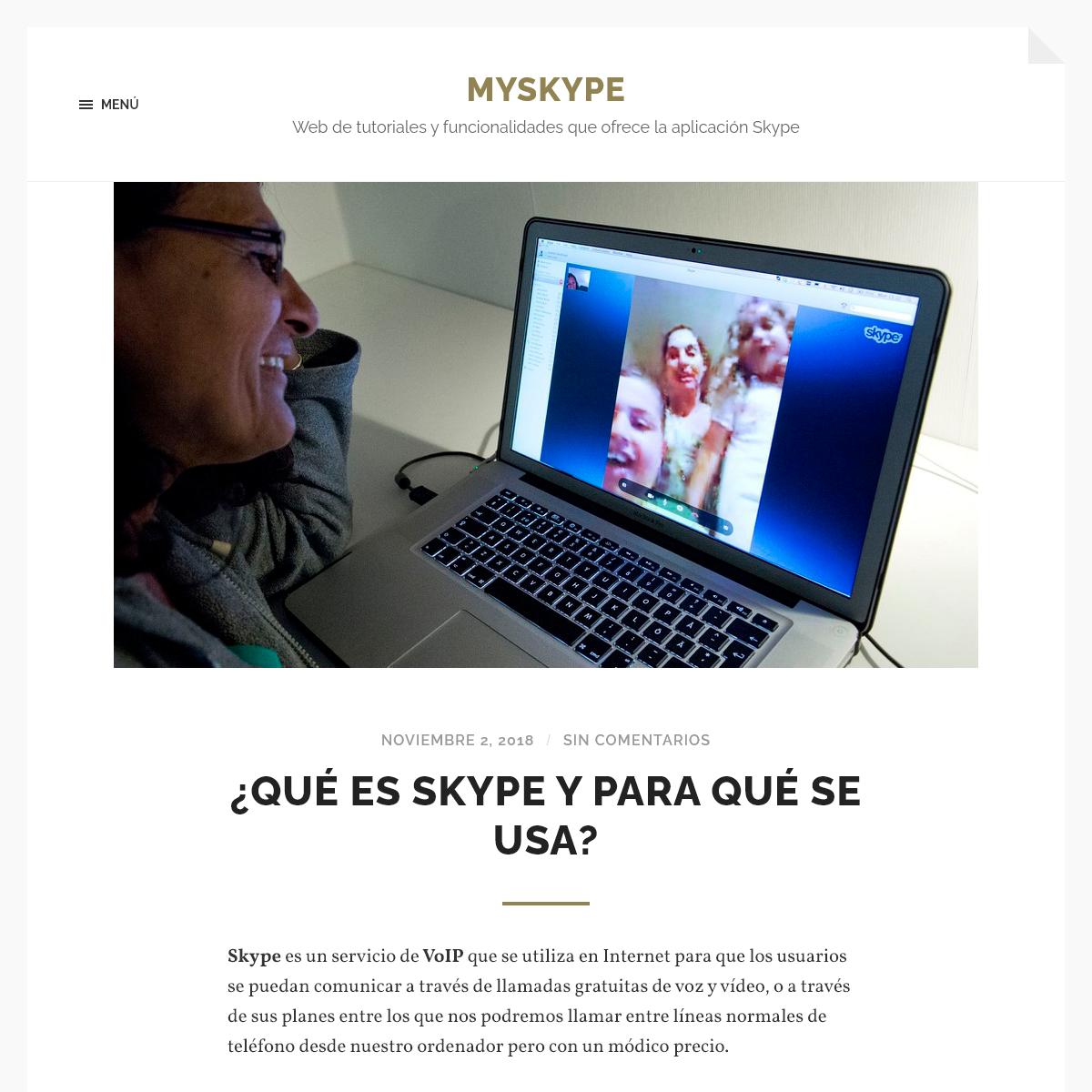 Myskype - Web de tutoriales y funcionalidades que ofrece la aplicación Skype