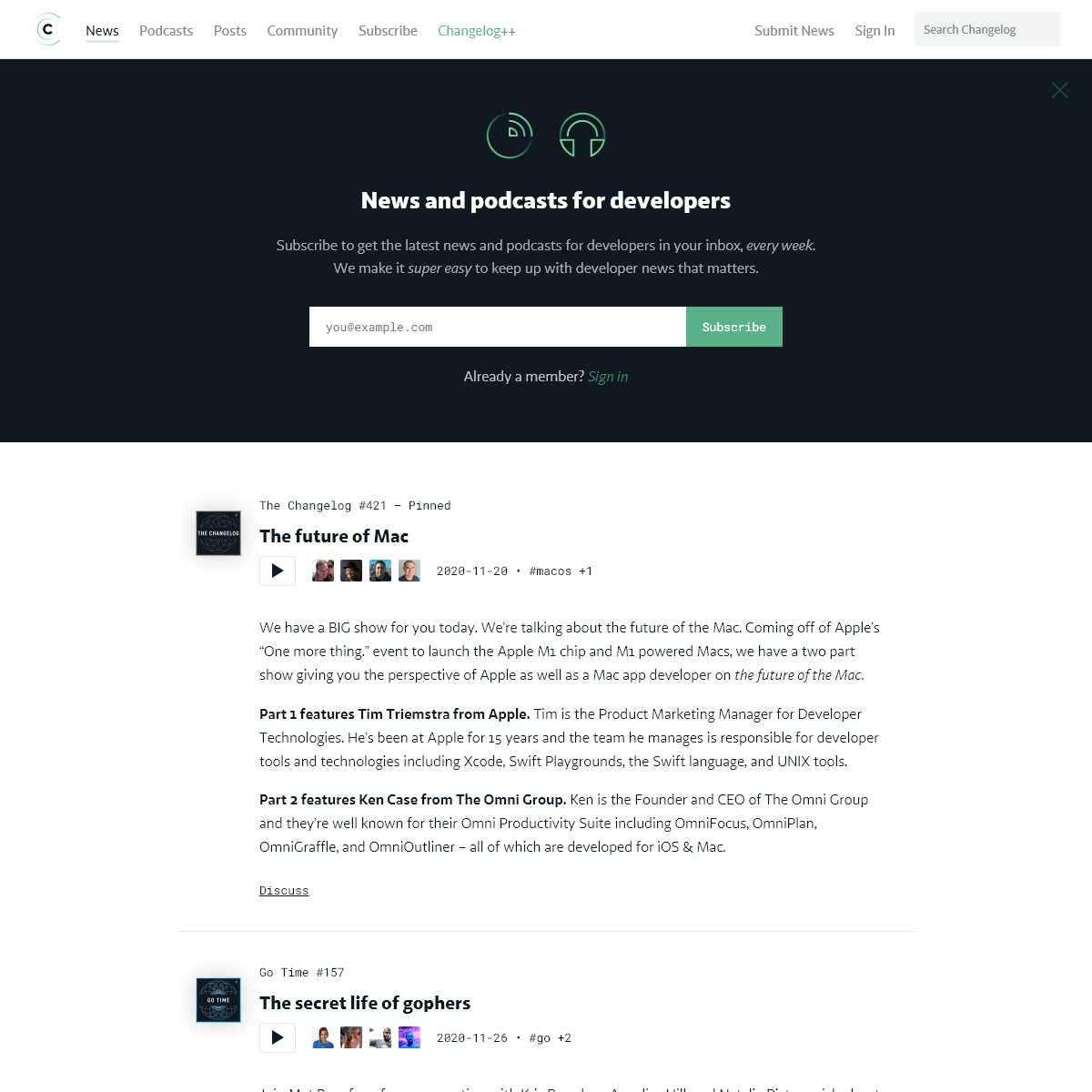 News and podcasts for developers -- Changelog
