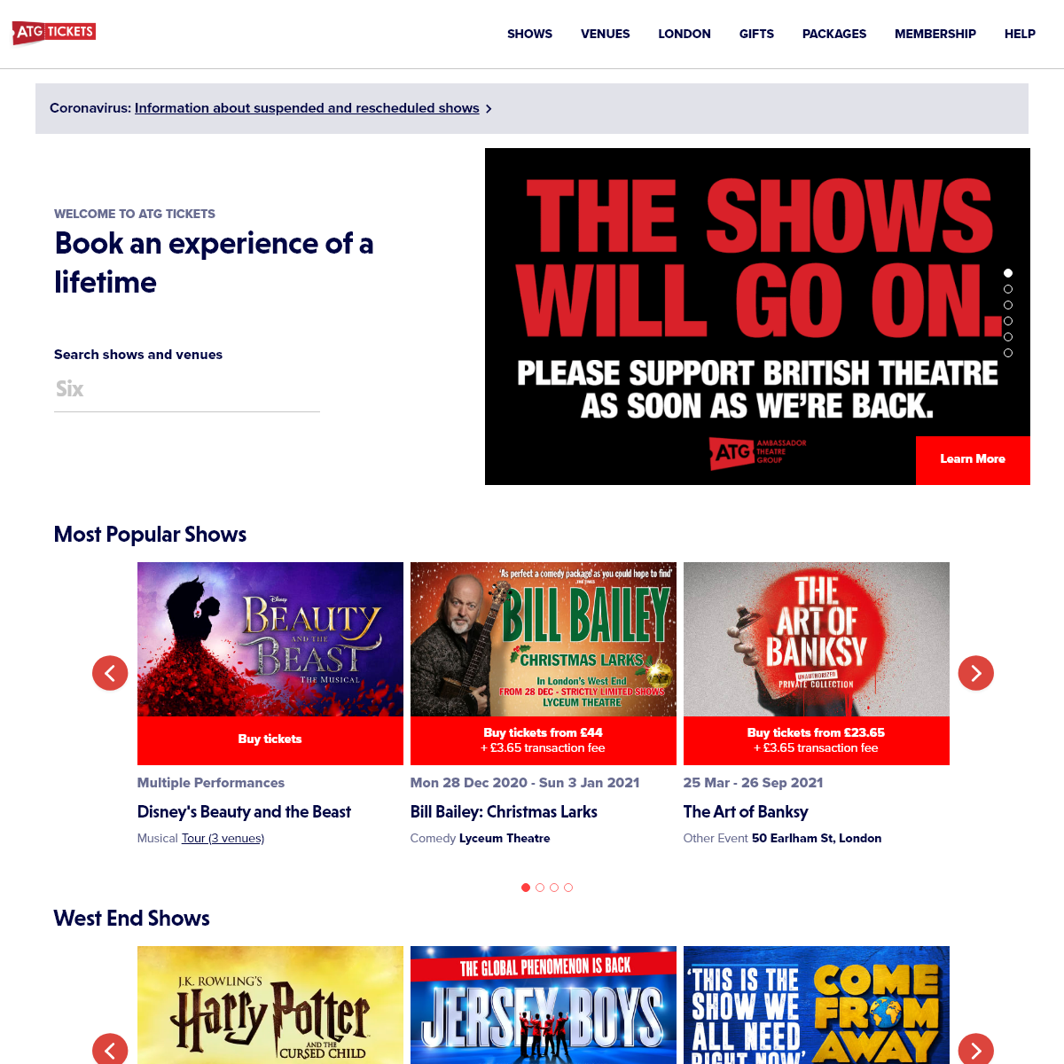 Theatre Tickets - Shows, Plays, Musicals & Tours - ATG Tickets