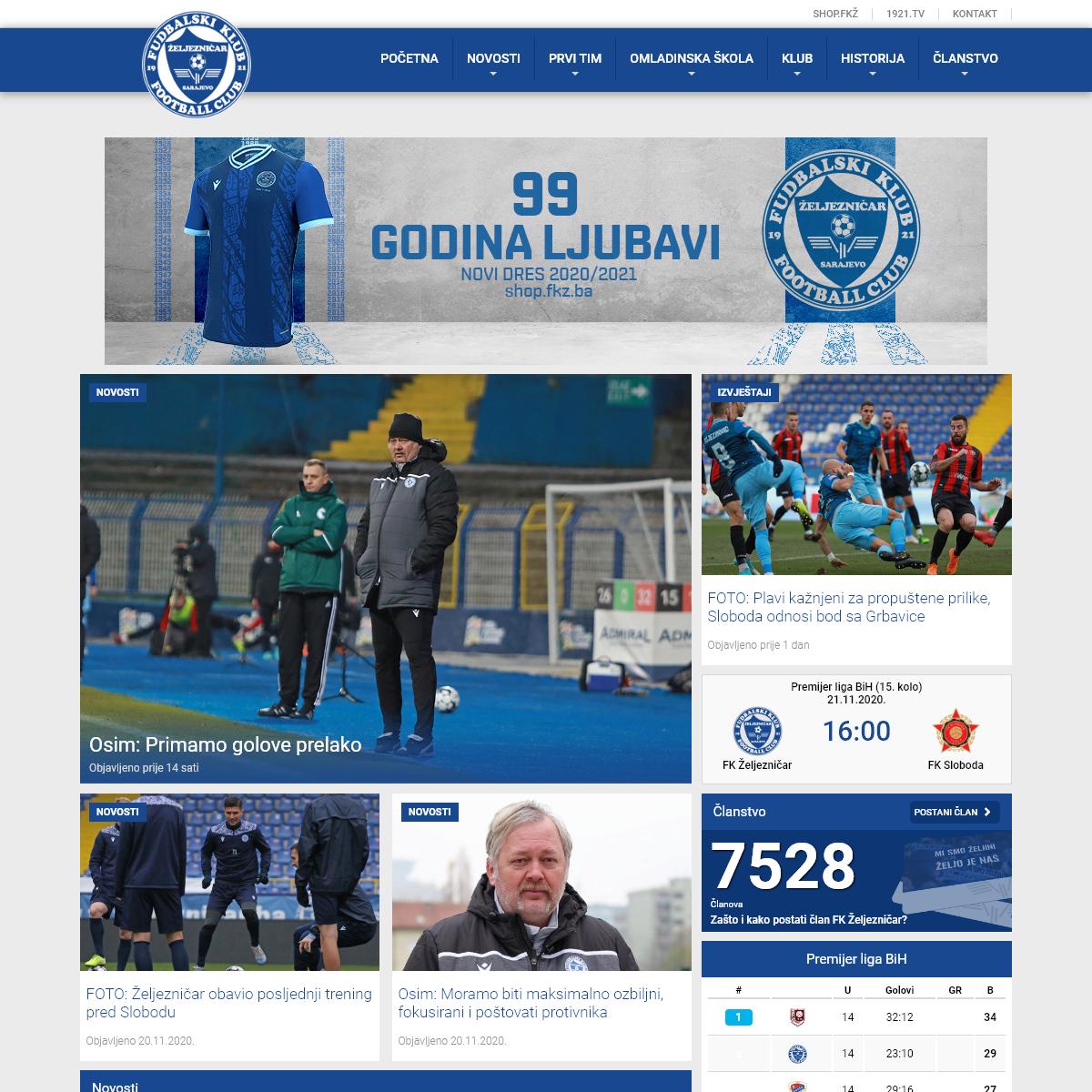 FK Željezničar – Zvanična internet stranica