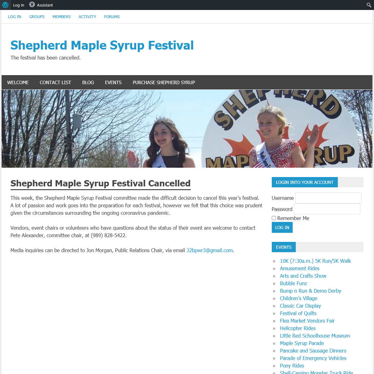 Shepherd Maple Syrup Festival – The festival has been cancelled.