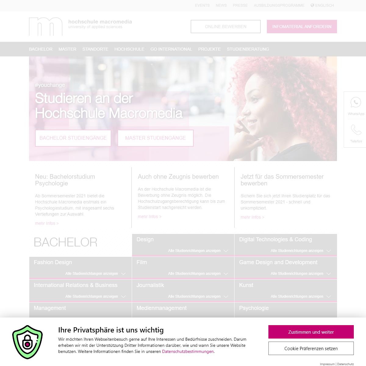 Hochschule Macromedia-Praxisnahes Studium an Medienuni