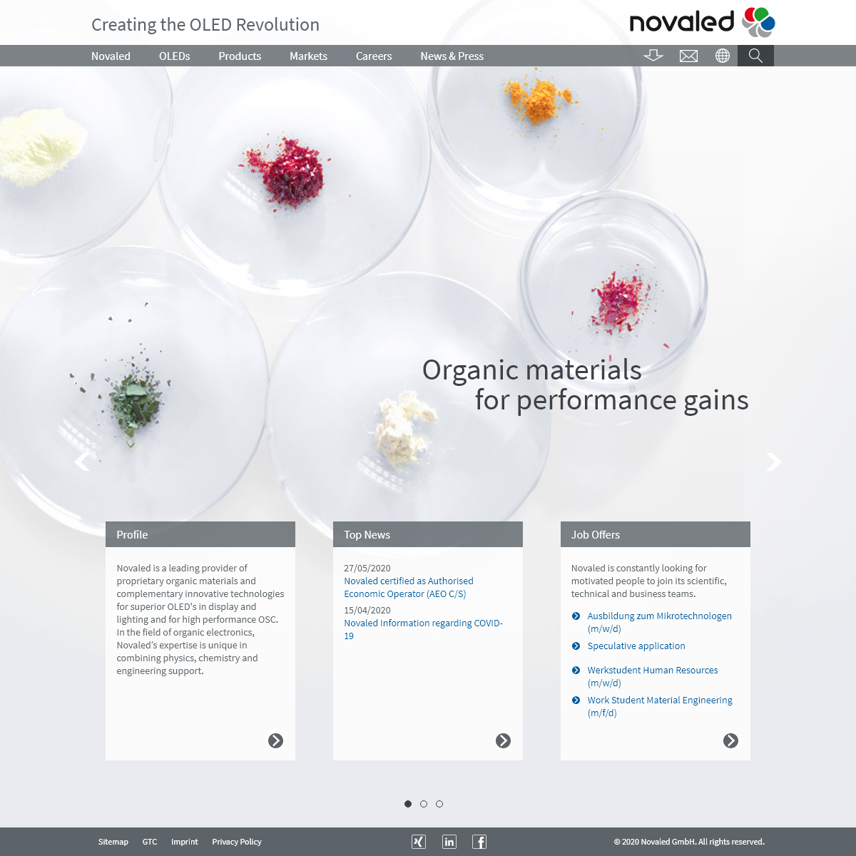 Homepage - NOVALED - Creating the OLED Revolution