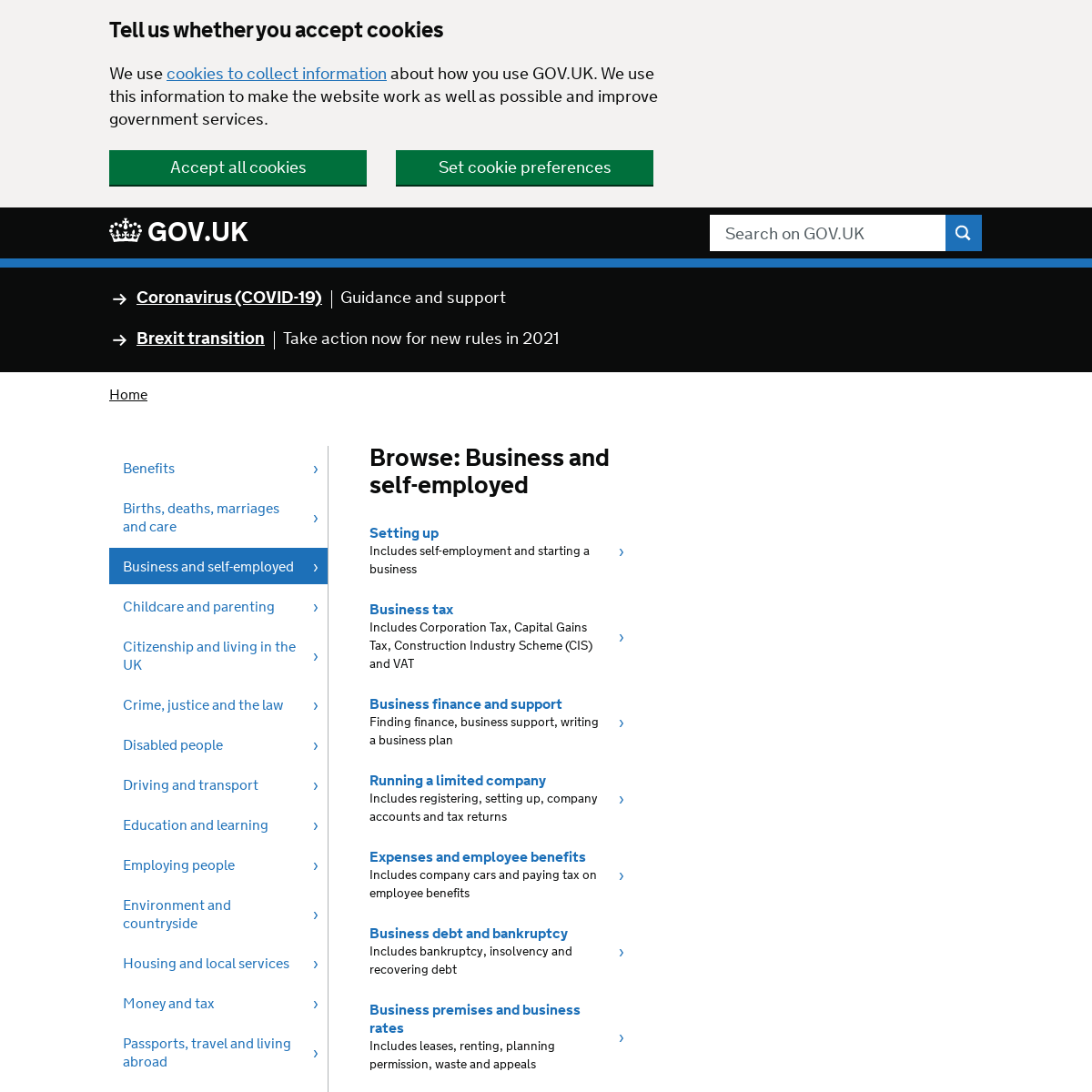 Browse- Business and self-employed - GOV.UK