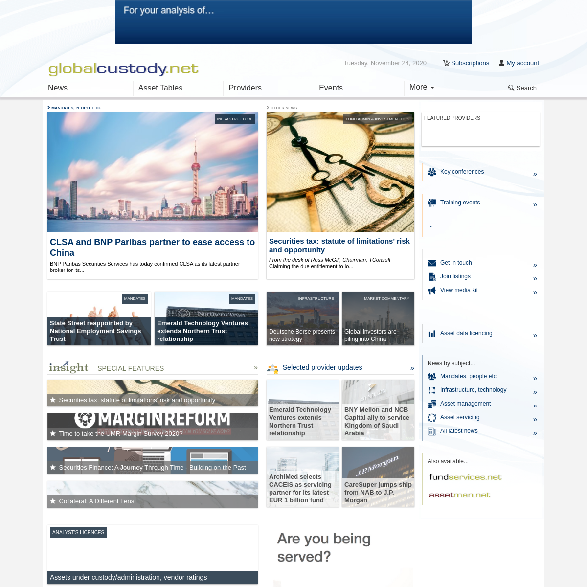 Global Custody - Custodians - securities services