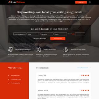 High Quality Academic Writing Service - OriginWritings.com