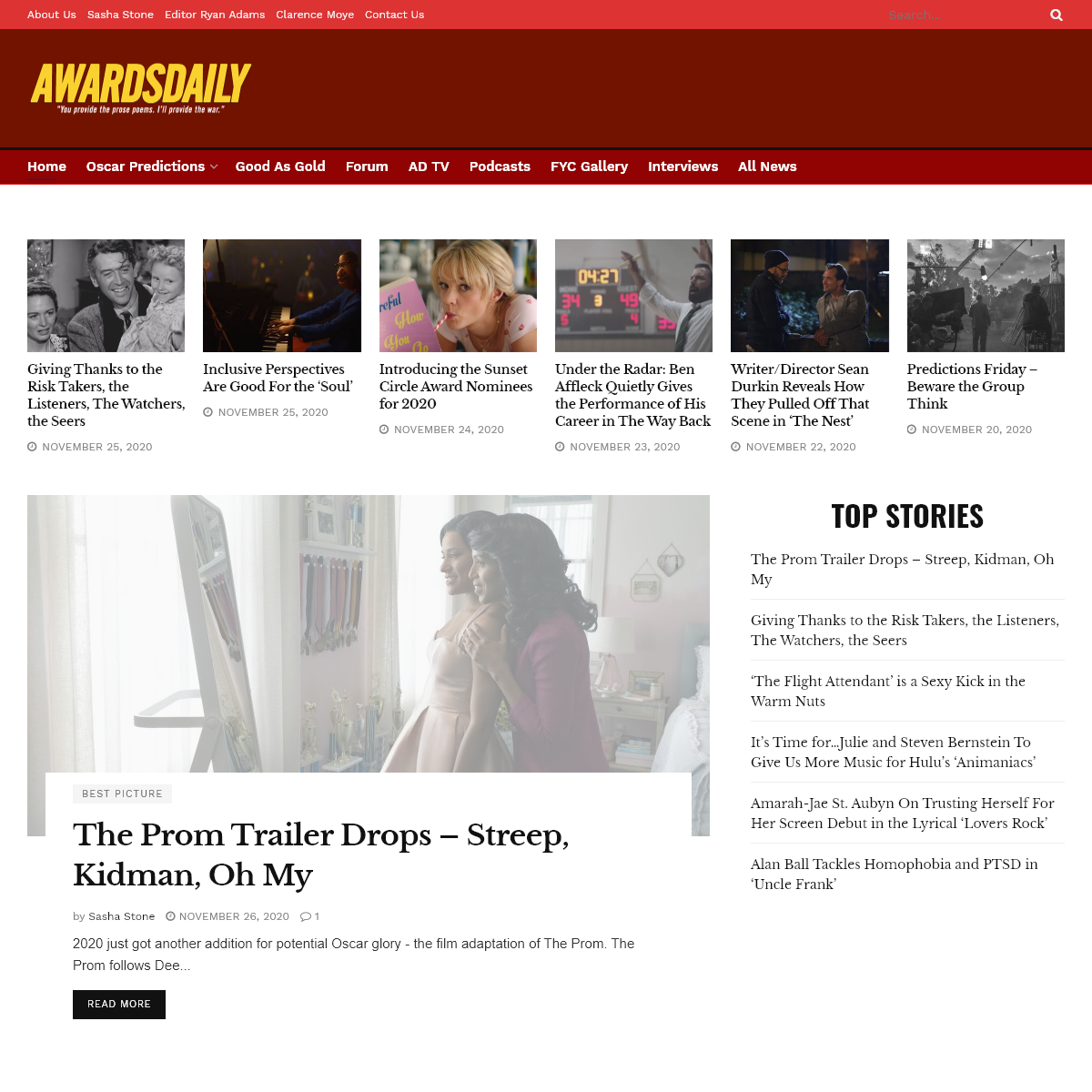 - Awardsdaily - The Oscars, the Films and everything in between.
