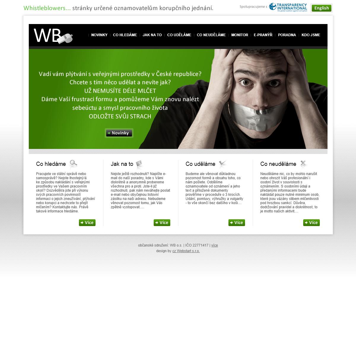 Whistleblowers - oznamte plýtvání a korupci -