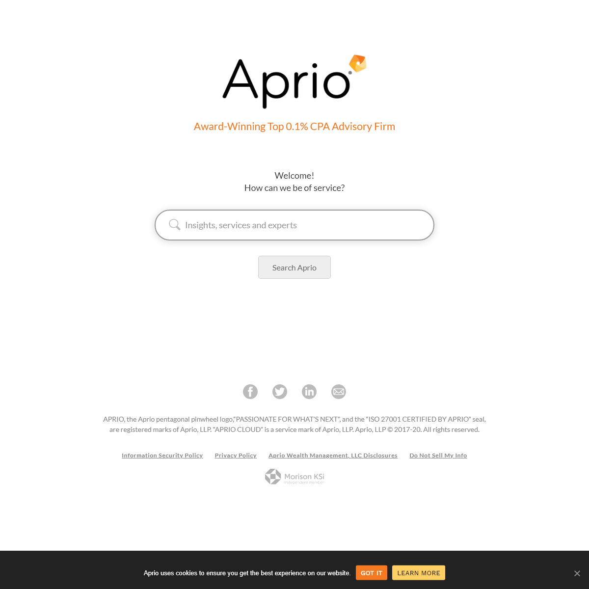 Award-Winning CPA-led Business Advisory Firm - Aprio - Passionate For What's Next®