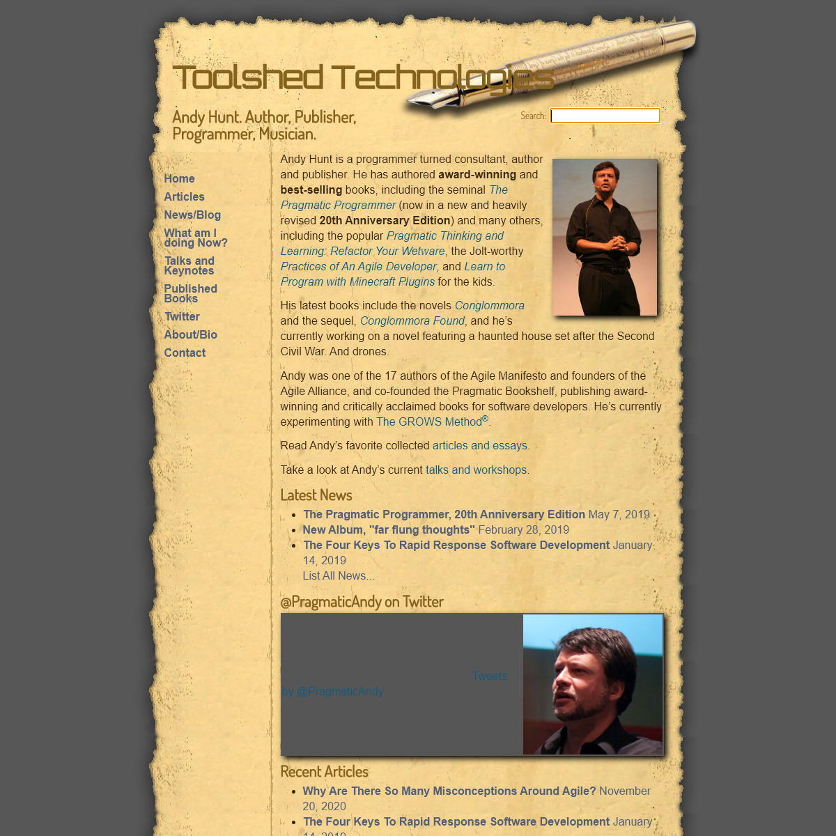 Andy Hunt`s Toolshed Technologies Home Page