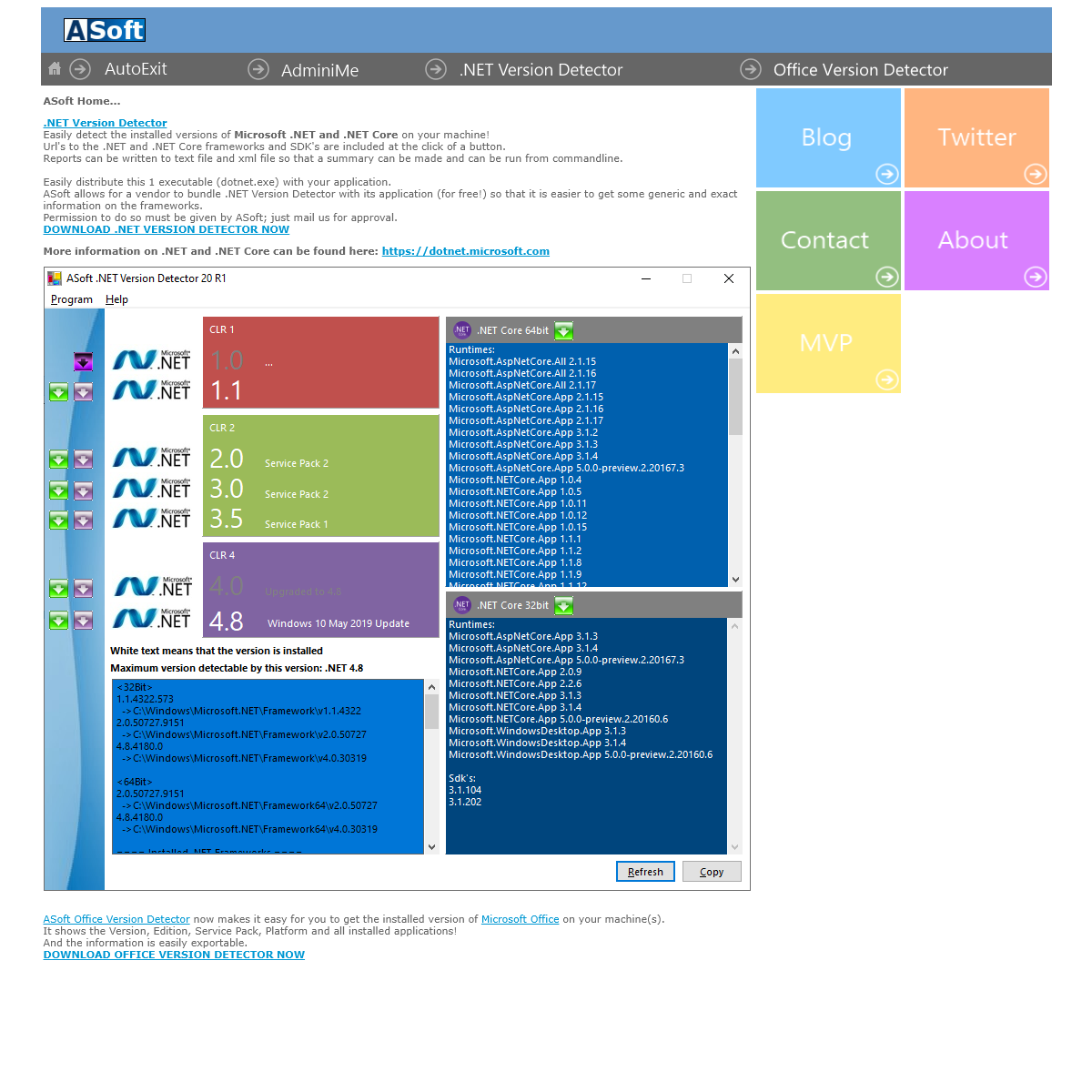 ASoft, home of AutoExit, AdminiMe and .NET Version Detector