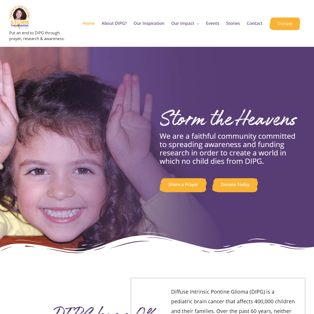 Storm The Heavens – Put an end to DIPG through prayer, research & awareness.