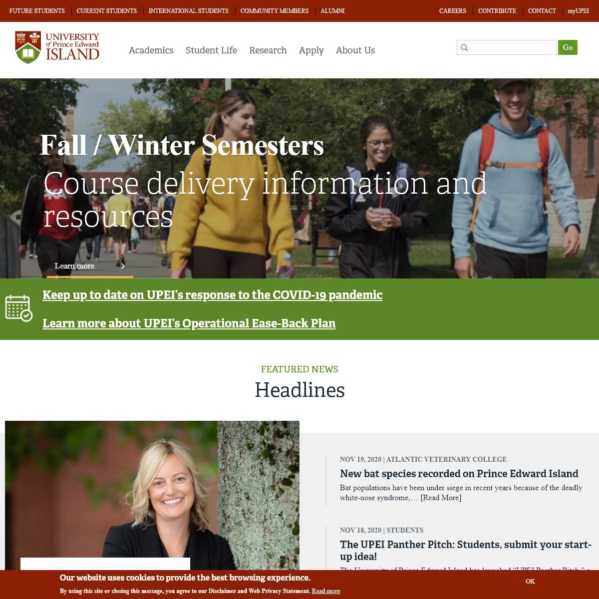 UPEI Home Page - University of Prince Edward Island