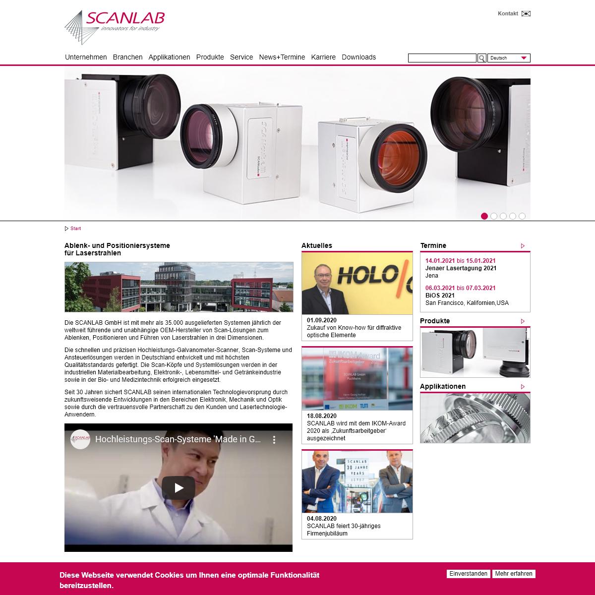 SCANLAB - Ablenk- und Positioniersysteme für Laserstrahlen