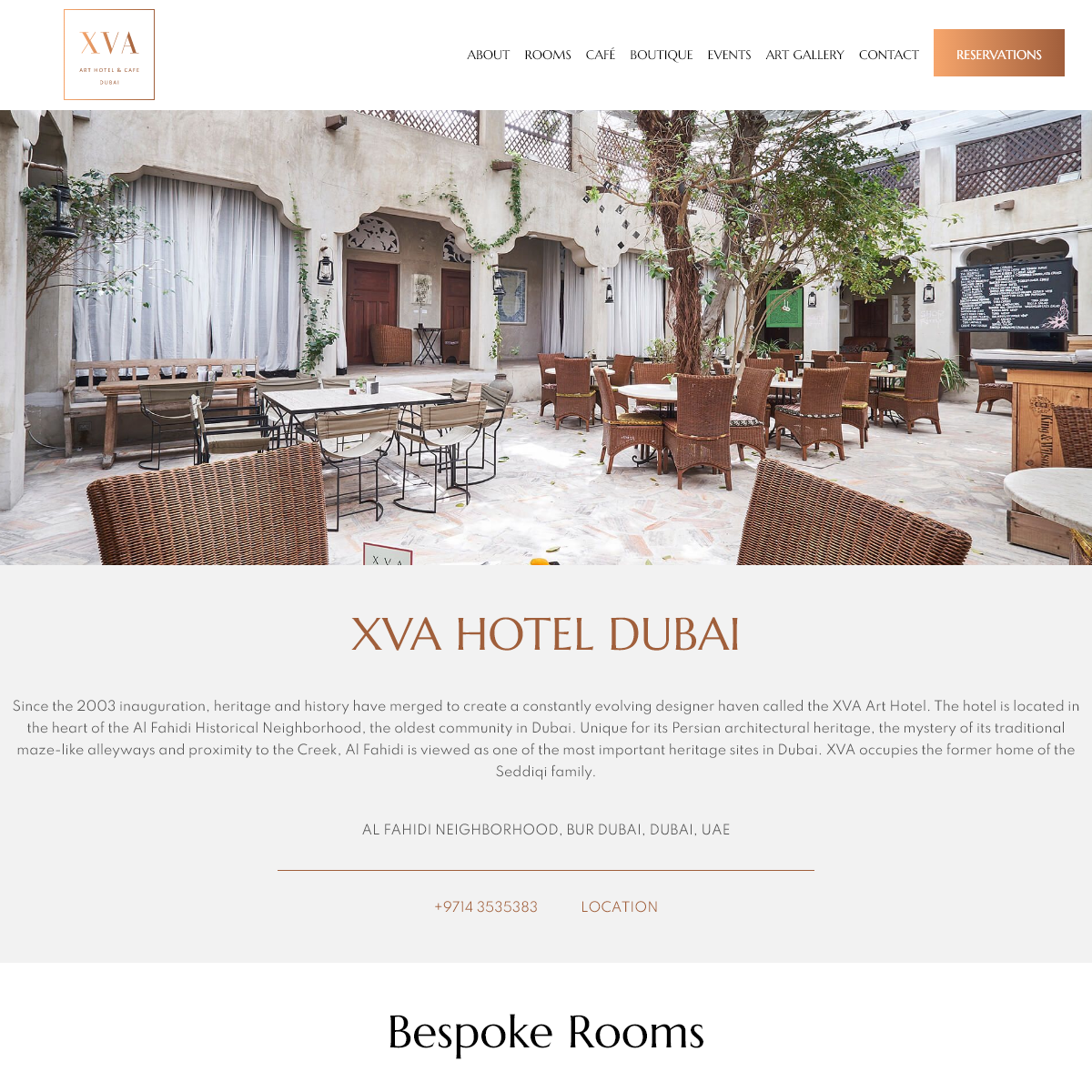 XVA Hotel Dubai - Offering 15 individually designed suites or rooms, an award winning restaurant, 3 wind towers, 2 courtyards, a